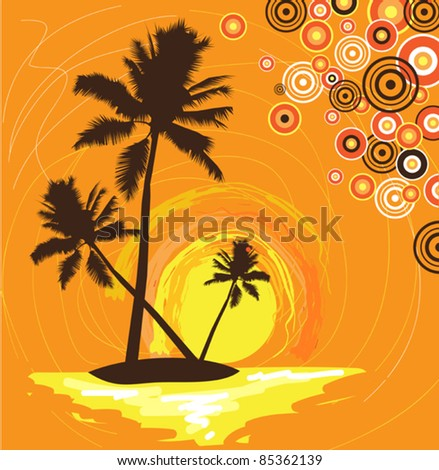 abstract stylized illustration of a tropical palm island at sunrise or sunset