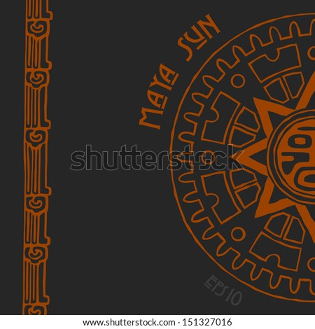 Abstract stylized maya sun symbol on black background - stock vector