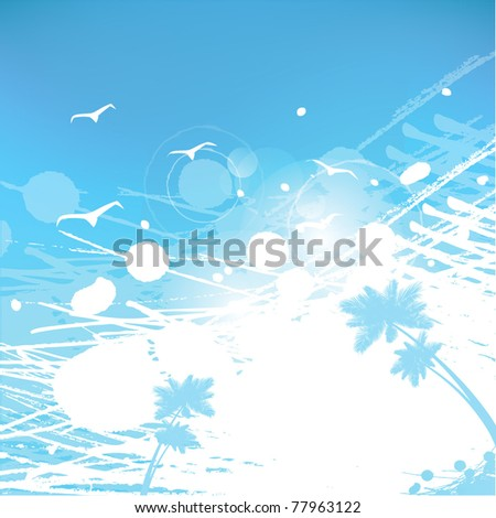 abstract summer background palms, seagulls, splashes,sky