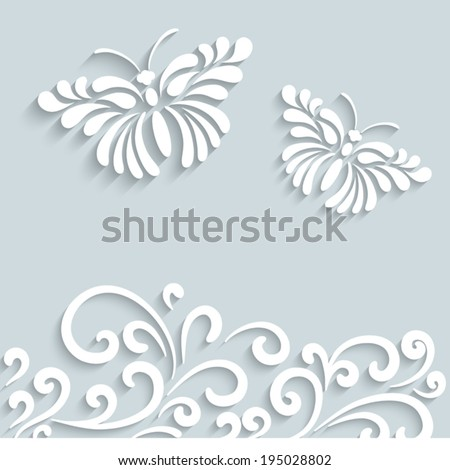 Abstract summer background with paper swirls and butterflies, vector ornamental frame, eps10 - stock vector