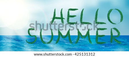 Abstract summer banner style with palm leaves text. Hello summer banner. Summer season. Summer time. Summer design. Summer vector. Summer lettering. Summer art. Summer decoration. Summer phrase. - stock vector