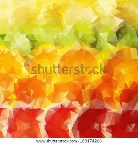 Abstract summer bright colorful background with citrus-fruit of grapefruit, orange and lemon slices, triangular geometric style - stock vector