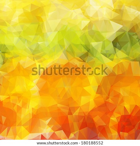 Abstract summer bright colorful background with citrus fruit oranges and lemons, triangular geometric style - stock vector