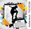 Abstract summer frame with skateboarder silhouette - stock vector