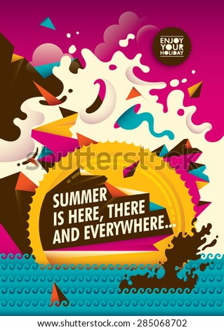 Abstract summer illustration. Vector illustration. - stock vector