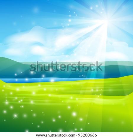 abstract summer landscape background - vector illustration - stock vector
