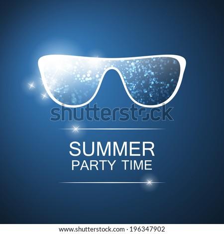 Abstract Summer Party Card, Cover or Flyer Template - Vector Design Concept - stock vector