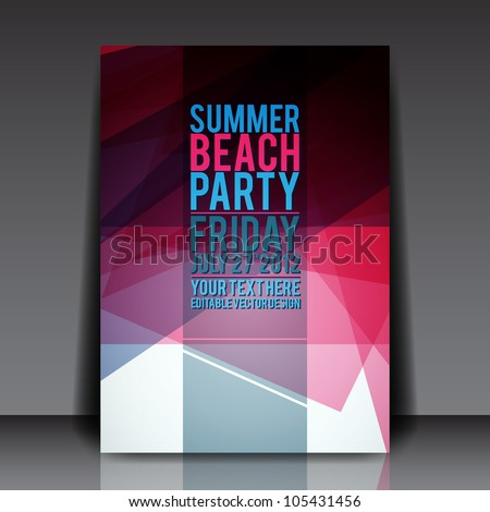 Abstract Summer Party Flyer Template - Vector Design - stock vector