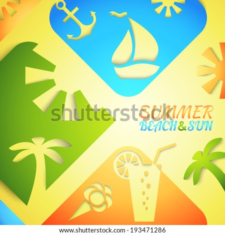 Abstract summer vector illustration. Bright beach and sun concept design. Green, blue, yellow and orange colors. Hot tropical recreation poster. Travel positive rest brochure. Happy dream vacation - stock vector