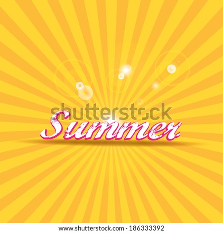 "abstract summer vector rays background with word ""summer"".summer grunge shiny illustration."