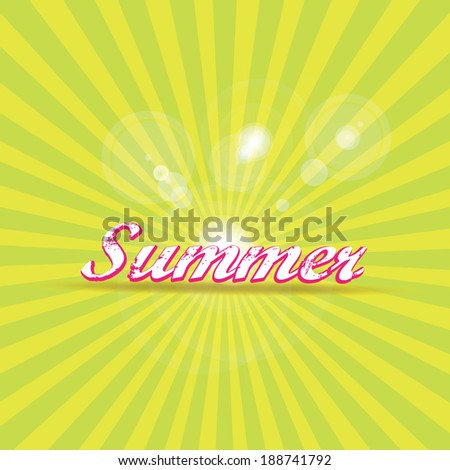 "abstract summer vector rays background with word ""summer"". summer grunge shiny illustration."