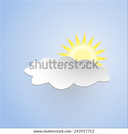 Abstract sun and cloud cut out of paper on  paper background Vector illustration