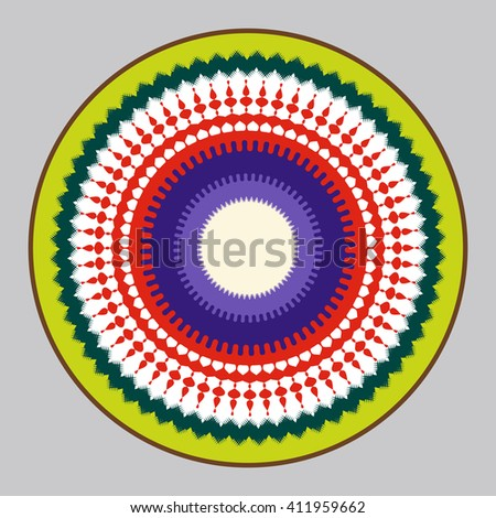 Abstract Sun and Earth interaction symbol. It depicts the sun, the sun's rays, ocean, fauna, air and flora. Colorful rounded mandala. - stock vector