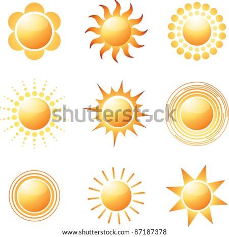 Abstract sun icon collection. Vector illustration - stock vector