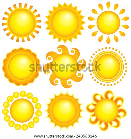 Abstract sun theme collection 1 - eps10 vector illustration. - stock vector