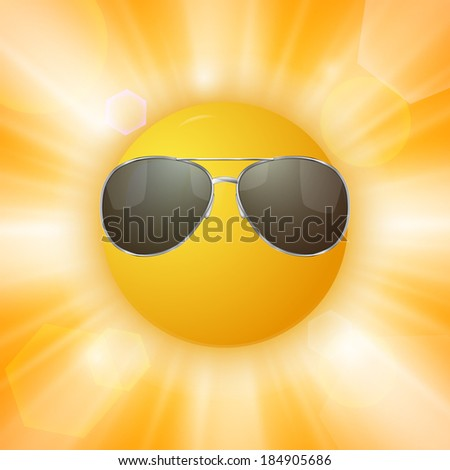 Abstract sun with sunglasses. Vector illustration - stock vector