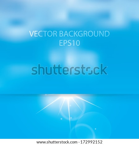 Abstract sunny sky and clouds vector background  - stock vector