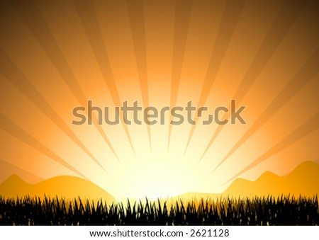 abstract sunset in mountain with grass silhouette, vector illustration