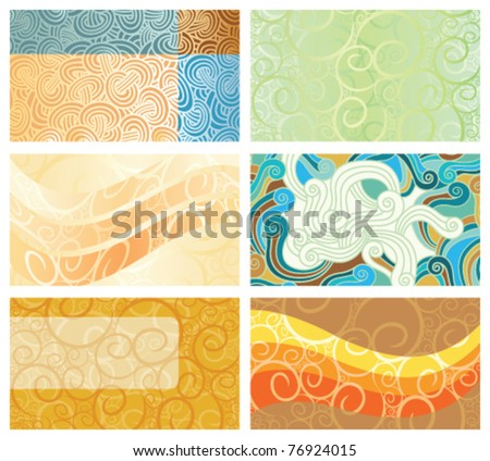 Abstract swirl background business cards set - stock vector