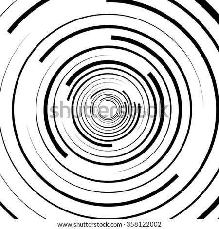 Abstract swirl, twirl, spiral element, rotating shape. Black and white vector - stock vector