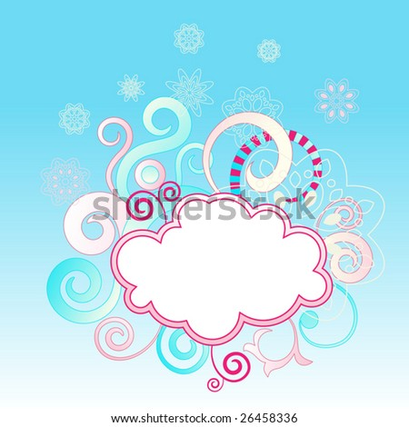 abstract swirls background with cloud shape frame vector illustration