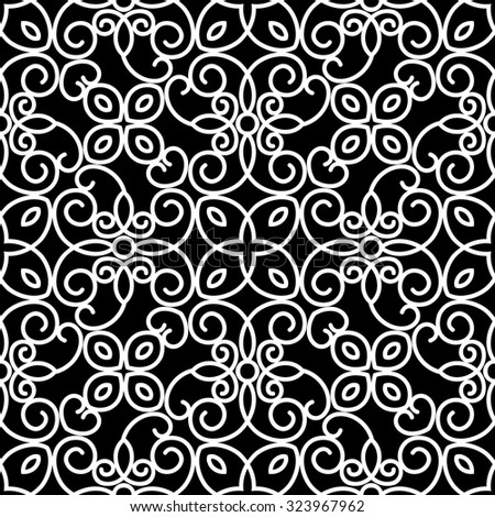 Abstract swirly ornament, lace texture, vector black and white seamless pattern - stock vector