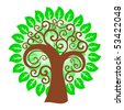 Abstract swirly tree 1 - stock vector
