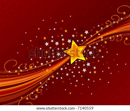 abstract swoosh background with stars and snowflakes - stock vector