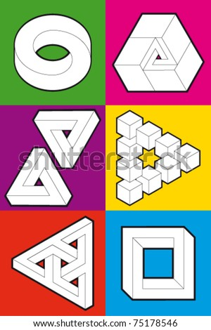 Abstract symbol, impossible object - stock vector