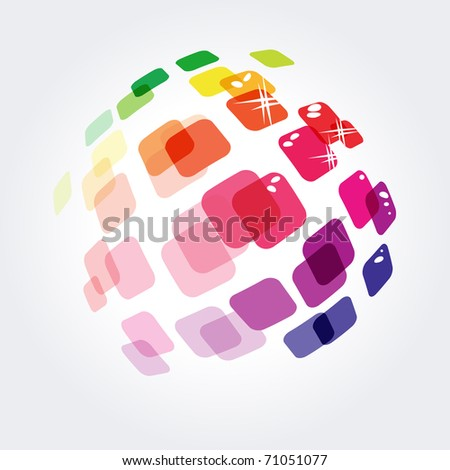 Abstract symbol made of different small squares - stock vector