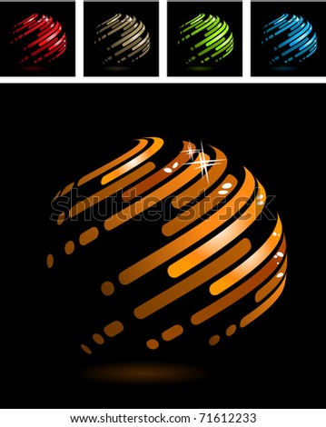 Abstract symbol made of glossy metal stripes - stock vector