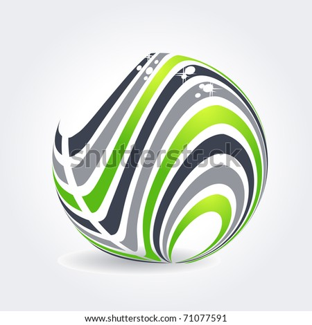 Abstract symbol made of green and grey stripes - stock vector