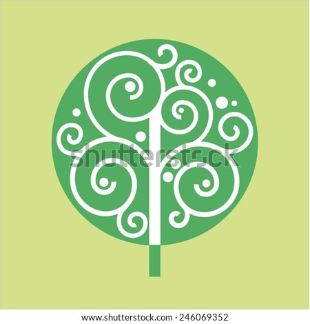 Abstract symbol of tree. Vector image for logo design. Round outline with spirals.