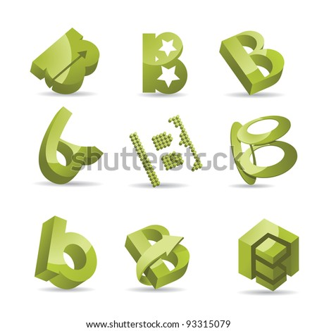 Abstract Symbols Icons Letter B EPS 8 vector, grouped for easy editing. No open shapes or paths.