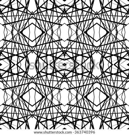 Abstract symmetric (mirrored) grid, mesh black and white pattern.