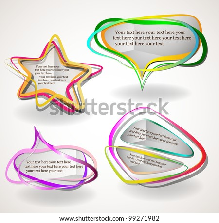 Abstract talking bubbles and banners set - stock vector