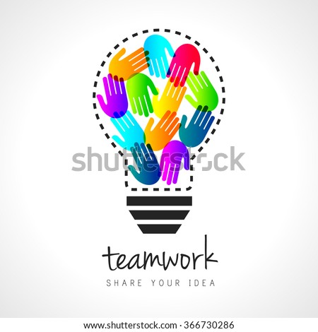 Abstract teamwork concept with lightbulb and colorful handprints inside - stock vector