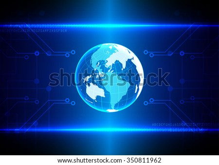 abstract tech digital  innovation with world background concept background