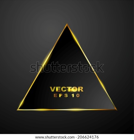 Abstract tech glowing triangle background. Vector design - stock vector