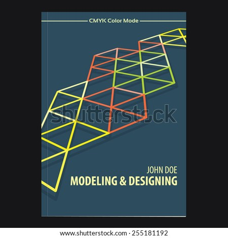 Abstract tech template of cover design for brochure, textbook or catalog. CMYK color mode. Vector layout - stock vector
