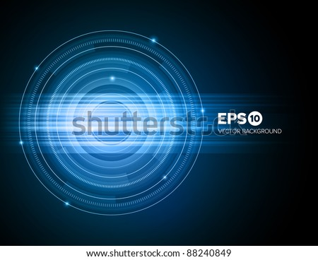 Abstract technical blue ring background with light effect - stock vector