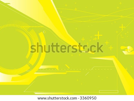 abstract techno background                   composition of curved lines--great for backgrounds, or layering over other images - stock vector