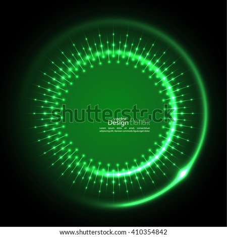 Abstract techno background with spirals and rays with glowing particles. Tech design. Lights vector frame. Glowing dots.  green, jade, malachite, lime - stock vector