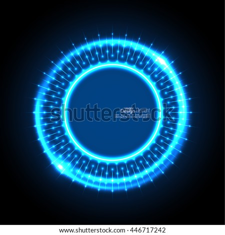 Abstract techno background with spirals and rays with glowing particles. Tech design. Lights vector frame. Glowing dots.  blue, cerulean, cobalt, indigo, sapphire, ultramarine. Neon ring. - stock vector