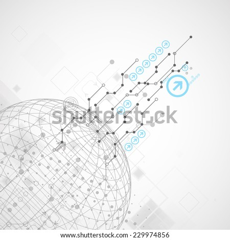 Abstract technological background with various technological elements