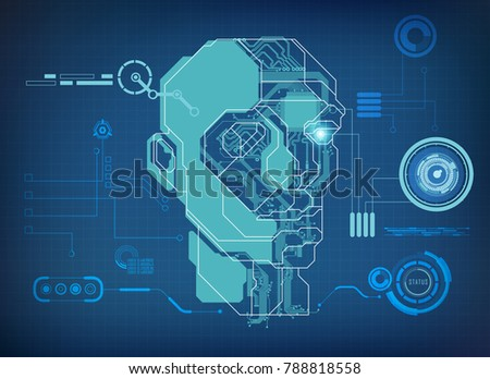 Abstract technological health care science interface stock vector abstract technological health care science interface of electronic eye analysis digital blueprint of robot malvernweather Choice Image