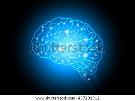 Abstract technology and science of intelligence connectivity network in Human brain, vector illustration - stock vector