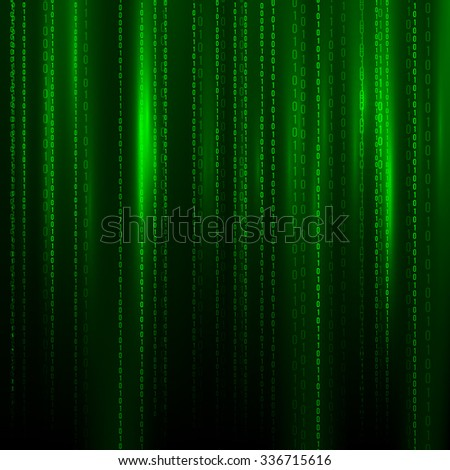 Abstract Technology Background. Binary Computer Code. Programming / Coding / Hacker concept. Vector Background Illustration. - stock vector