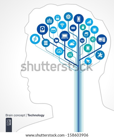 Abstract technology background. Brain concept (circuit) with silhouette of a human head and icons (mobile phone, network, computer, technology, usb, pad, router). Vector infographic illustration.