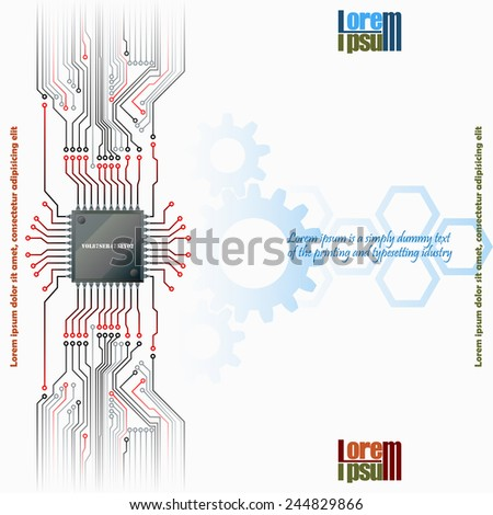 Abstract technology background; Electronic Chip connected at electronic circuits with cogwheels and hexagons in background.  - stock vector
